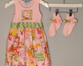 Frocks with Socks Size Lt Pink Diva Tank Dress and Matching Socks