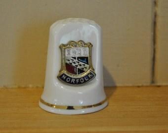 Vintage Norfolk shield - crest emblem - China thimble - Town souvenir