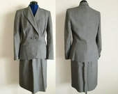 Bond Fifth Avenue Ladies Vintage Grey Dress Suit, bust 38, waist 27, skirt and jacket for office