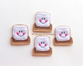 Smores Embroidered Felt Applique - Toasted Marshmallow Felties -Smores Embroidered Felt Stitches-UNCUT (Set of 4)