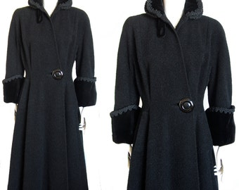 Vintage princess coat dress coat early 1950s boucle wool Kraeler Forstmann jet black New Look size S/M