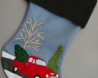 "Christmas Stocking Personalized for 2017--""My Red Truck"""