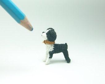 miniature animal 1 inch - dollhouse crochet boston terrier dog - tiny amigurumi animals