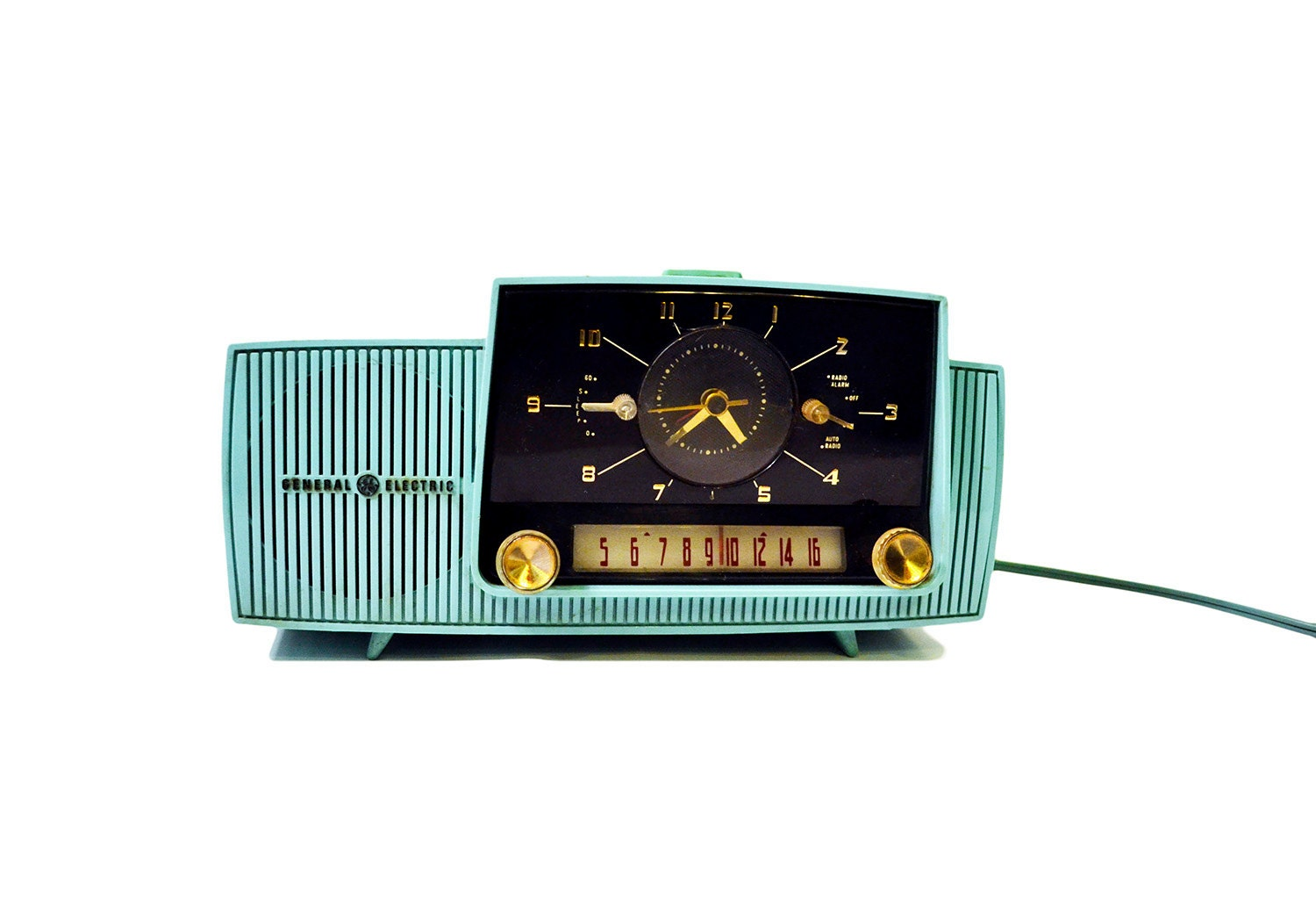 Vintage 1950's Turquoise Radio GE AM Tube Radio Antique