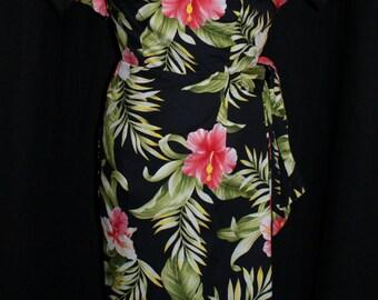 1950s vintage inspired bombshell black Hawaiian sarong dress and bolero XS VLV rockabilly tiki party pinup