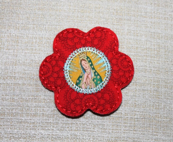 Our lady of Guadalupe Red flower snap clip