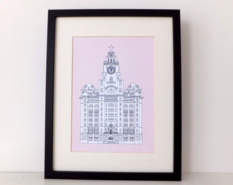 Liver Building, Liverpool, Liverpool drawing, art print, home decor, Liverpool Print Picture of Liverpool, England, Mother's Day