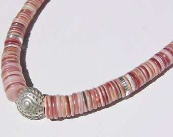 Cosmic Flesh-colored Heishi Shell Necklace