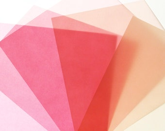 LG Translucent Origami - Pink and Cream  - 6 Sheets Large 8 inch squares, large origami squares, paper crafts