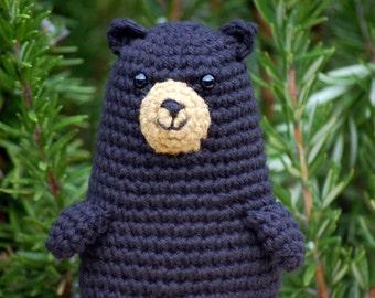 Justin the Black Bear, a kawaii cute crochet stuffed toy