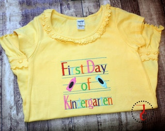 First Day Of School Shirt - School Dress, Back To School Shirt, Kindergarten Shirt, 1st Day of School, Back To School Outfit, Girls School
