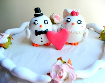 Dove Wedding Cake Topper, Polymer Clay Cake Topper Personalize Customizable