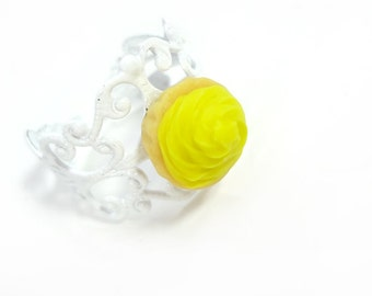 Yellow Cupcake Ring Miniature Food Jewelry