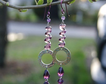 "Purple Swirl Lampwork Beads with Hammered Sterling Silver Circles and Swarovski Crystal Dangle Earrings--""Purplicity"""