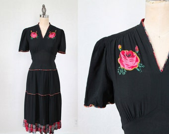 1930s Dress / HAND PAINTED Roses Dress / M