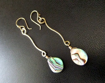 Abalone Shell Curved Dangle lightweight Earrings 14K Gold filled Sterling Silver Iridescent Multicolored Shells Hand Shaped Hammered Curves
