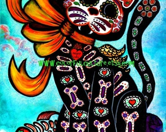 "Bad Luck? My Tail!!- Art Print by Laura Gomez- 8.5"" x 11"" Or 11"" x 14""- Cat - Day of the Dead - Muertos- Mexican Art- From Original painting"