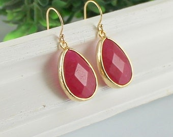 Red Ruby Earrings in Gold - Burgundy Earrings, Jade,  Bridesmaid jewelry, Everyday Earrings, Wedding, Bridal, Bridesmaid Gift