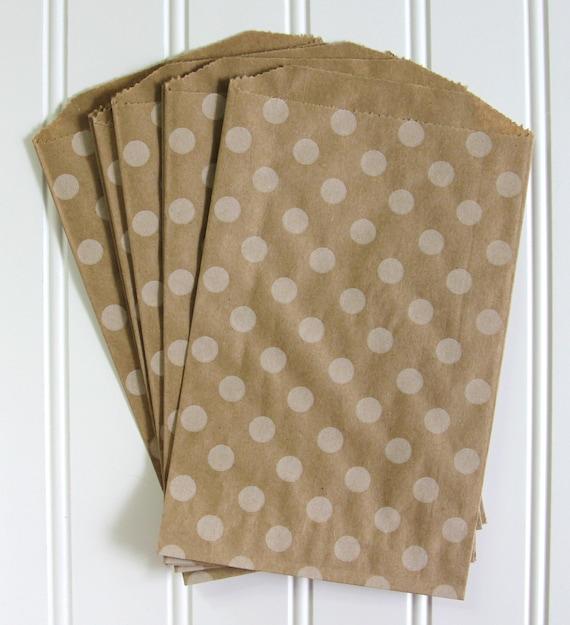 15 Polka Dot Kraft Bags (Treat Bags, Favor Bags, Gift Wrap, Envelopes) - 5 x 7.5 inches