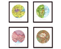 Set of 4 Personalized Map Prints, Custom Map Art, Anniversary Gift, Wedding Present, 1st Anniversary, Cotton Anniversary, Circle Map Decor