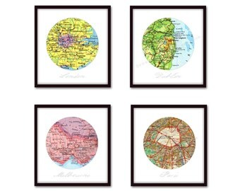 First Anniversary Gift, Custom Map Art, 1st Anniversary Gift, Set of 4 Personalized Map Art Prints, Cotton Anniversary, Map Wall Decor