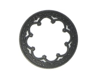 Scalloped Edge Lace Circle Frame Porthole Port Hole Filigree Black Brass Stamping 36mm Qty 1 One Made in the USA