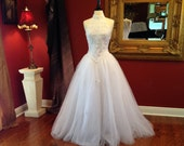 Reserved for Angela  ...Vintage 90s White Tulle Lace Ballroom Wedding Dress S/M