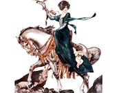 Woman Falconer on Horse Catches Cupid Greeting Card - La Vie Parisienne - Herouard
