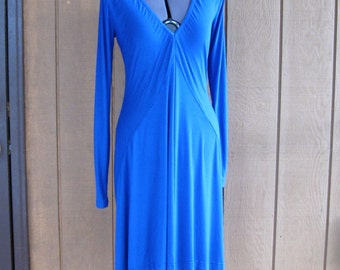 CUSTOM Knit Dress with deep V neck, long sleeves, empire waist, long sculpted lines, contoured hem