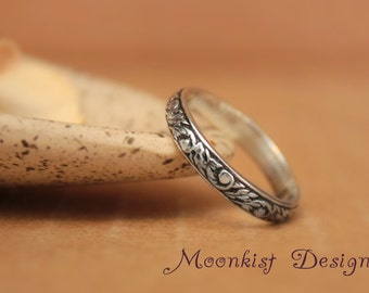 Sterling Silver Tendril and Vine Wedding Band - Narrow Floral Pattern Band - Sterling Silver Floral Ring - Promise Band - Commitment Band