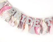 Bridal Shower Decor - Bride Chair Banner for Wedding Shower - Silver, Pink, and  Ivory- Garland - Bunting