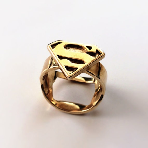 superman ring gold plated brass by niquegeek on etsy