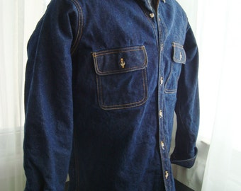 London Fog Dark Blue Denim Jacket With Corduroy Collar, Size Medium