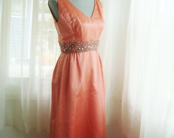 1960's Peach Silk Formal Dress, Evening Gown With Gorgeous Rhinestone Beading,  Size Small