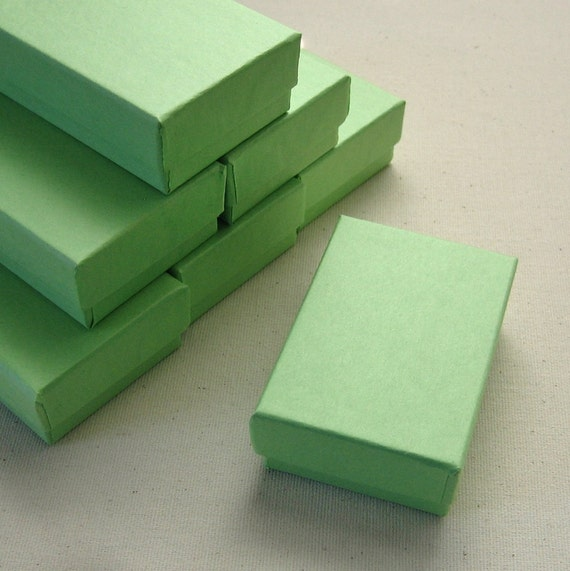 20 High Quality Matte Lime Green Cotton Filled Jewelry Boxes 2.5 x 1.75 x 15/16 inches - Small