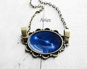 "Get 15% OFF - Handmade Resin ""Aries"" Constellation Sign Antique Bronze Oval Pendant Necklace - Valentine's Day SALE 2016"