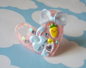 Kawaii Bunny, Baby Chick, and Carrot Happy Times Pink Heart Ring