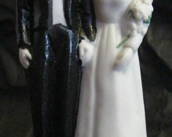 Bride Groom Wedding Cake Topper Vintage Bisque Lovebird Pair