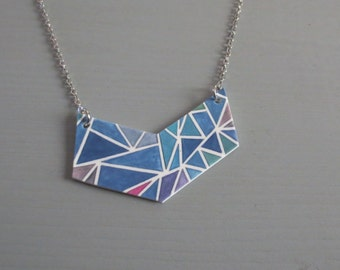 Chevron - Resin Bib Necklace with Blue Abstract Modernist Geometric Print in Blue Color Block Statement (Collier Géométrique) by InfinEight