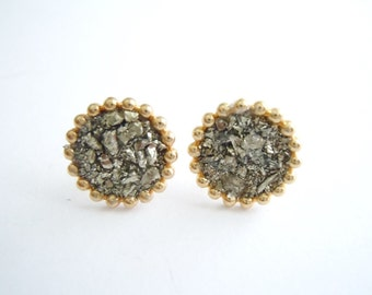 Pyrite Stud Earrings - Raw Stone- Raw Mineral- Natural Glam - Boho Chic - Fashion Accessories