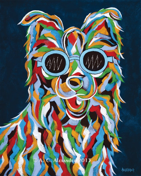 You make me smile abstract dog art print for Dog painting artist