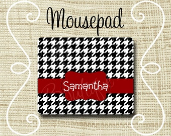 Custom Personalized Mousepad Mouse Pad Houndstooth Black & Crimson or Any Color(s)