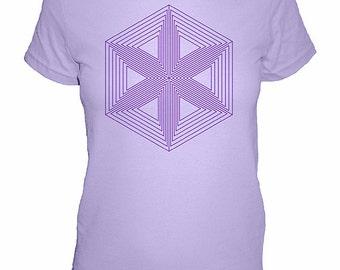 Womens Shirt - Geometric - Hexagon Triangle Flower Shirt - Womens Tshirt - Screen Printed by Hand -  4 Colors Available -  S, M, L, XL