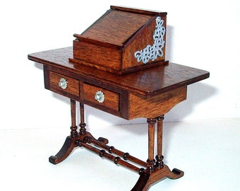 Writing Table, Desk with Book Stand, Dollhouse Miniature 1/12 scale