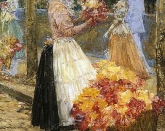 Woman Selling Flowers - Cross stitch pattern pdf format