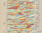 Page 127: Original mixed media art vintage book blue yellow gray beige red linear stripes abstract modern art