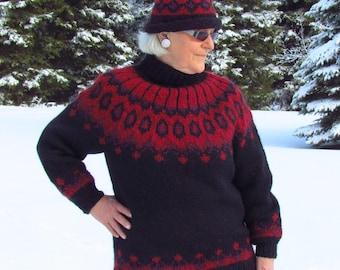 Handknit, Black, Nordic Design, Womens, Lopi Wool Sweater & Hat, Size:10-12