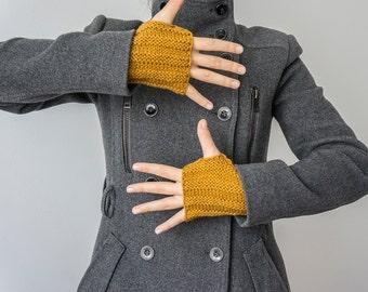 Knit Fingerless Knit Gloves Mustard Fingerless Mustard Gloves Winter Accessory Men Gloves Women Gloves Christmas Gift For Her For Him