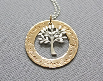 Tree of Life Personalized Necklace for Grandmother with Names on a Gold Ring - Grandchildren Name Necklace - Mother of 1 2 3 4 5 6 Kids