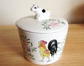 Retro Cow and Rooster container